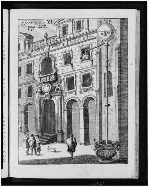 [Exterior view of building with apparatus attached for experiment intended to create a vacuum by draining water from a globe attached to the top of the apparatus]