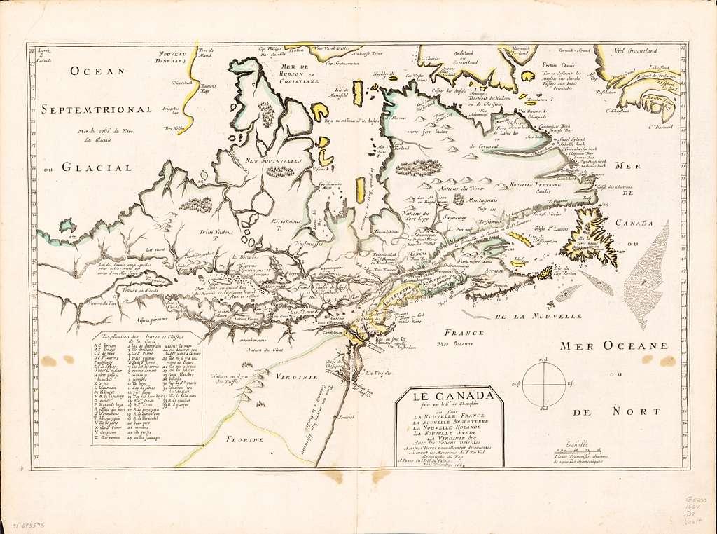 Le Canada faict par le Sr. de Champlain, ou, sont, La Nouvelle France, la Nouvelle Angleterre, la Nouvelle Holande, la Nouvelle Svede, la Virginie &c. avec les nations voisines et autres terres nouvellement decouvertes suivant les memoires de P. du Val, géographe du Roy