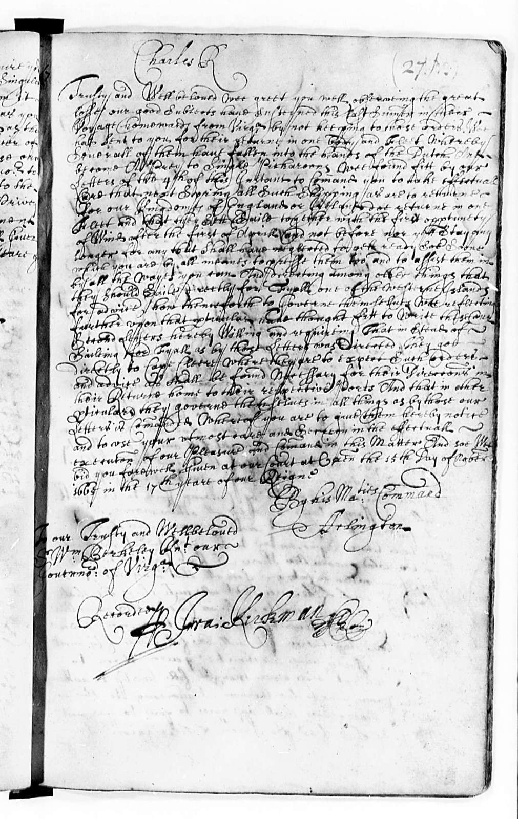 Virginia, 1665-76, Foreign Business and Inquisitions