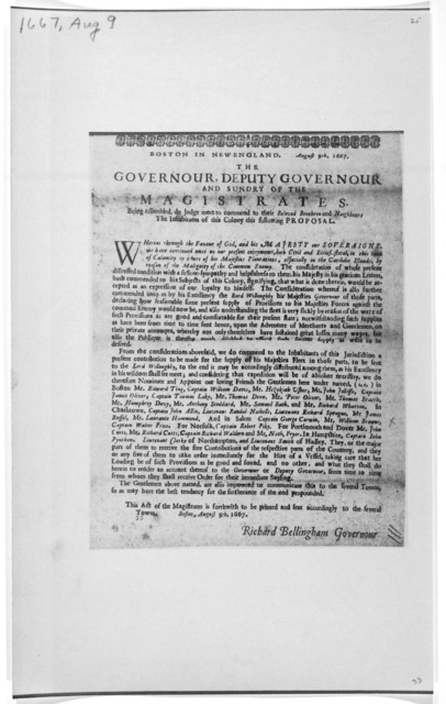 Boston in New England. August 9th 1667. The Governour, deputy-governour and sundry of the magistrates. Being assembled, do judge meet to comment to their beloved brethren and neighbours the inhabitants of this colony this following proposed ...