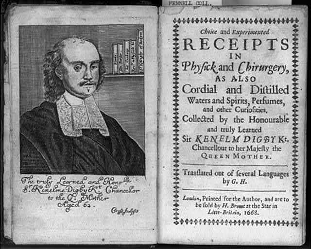 [Engraved portrait of Kenelm Digby and title page from his Choice and Experimented Receipts in Physick and Chirurgery. 1668]