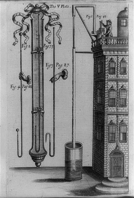 [Eight-foot mercury barometer and water pumping demonstration from four-story house proving law that height of fluids raised by suction or pressure varies inversely to its specific gravity]