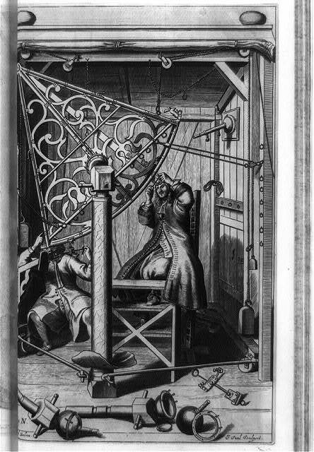 [Johannes Hevelius and assistant using six-foot sextant to measure angular distances between pairs of stars]