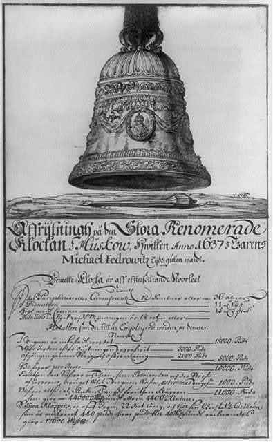 Grigor'ev's bell of 1655 showing the portrait of Patriarch Nikon