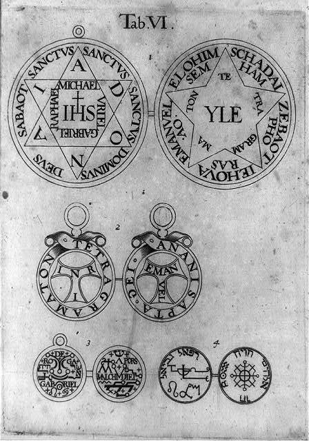 [Eight amulets in different languages]