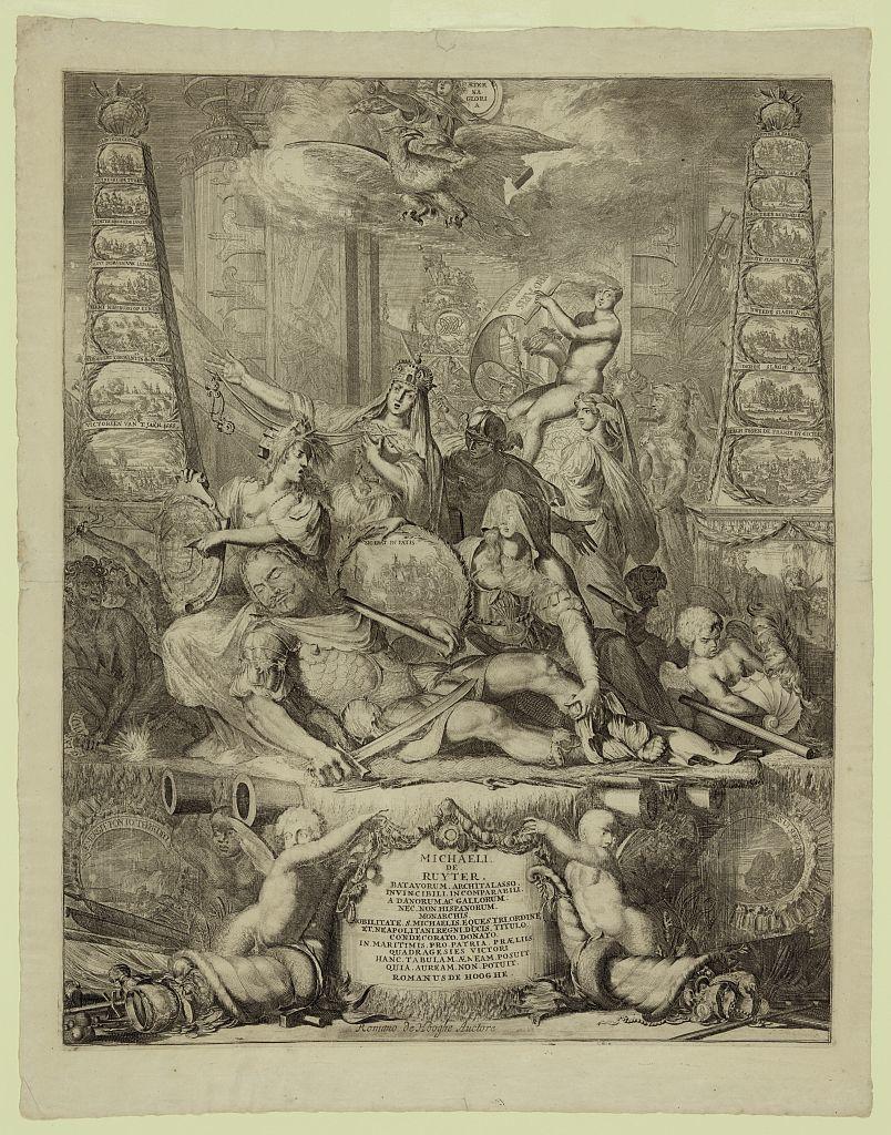 Michaeli de Ruyter, batavorum, architalasso, invincibili, incomparabili ... / Romano de Hooghe auctore.