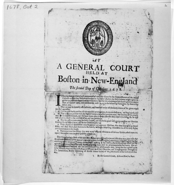 At a General Court held at Boston in New England the second day of October 1678. [A proclamaton for a day of fasting and prayer November 21, 1678] [Cambridge, Printed by Samuel Green 1678].