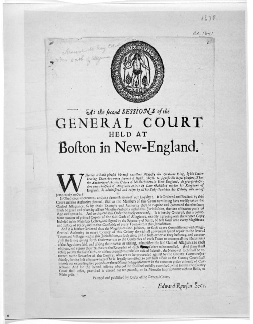 At the second sessions of the General Court held at Boston in New-England. Whereas it hath pleased his most excellent Majesty our gracious king, by his letter bearing date the twenty seventh of April 1678 ... that the oath of allegiance as it is
