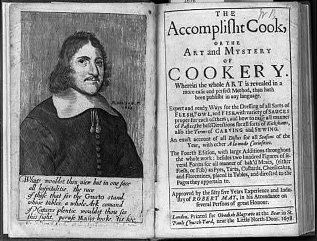[Frontispiece (portrait) of Robert May and title page from his book, The Accomplisht Cook, or the Art and Mystery of Cookery]