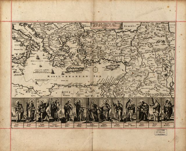 A mapp of the travels and voyages of the apostles in their mission and in partiular of Saint Paul.