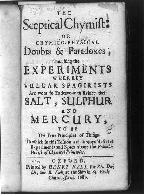 [Title page of The sceptical chymist]