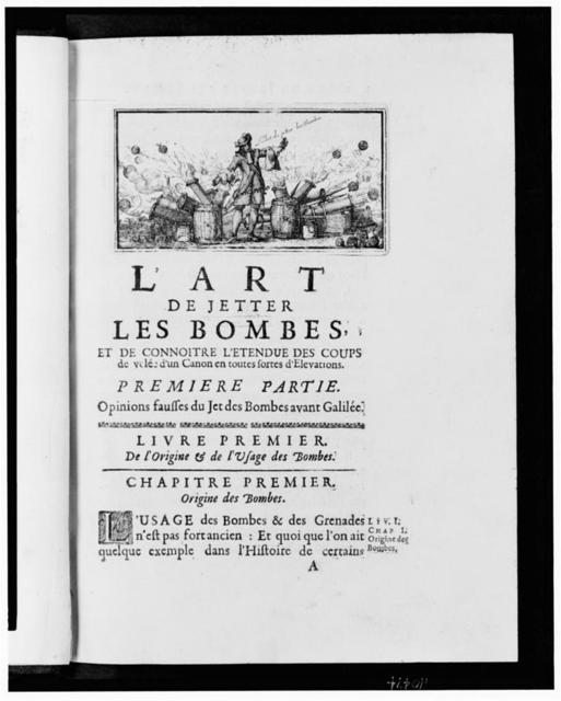 [Illustration for chapter one of L'art de jetter les bombes showing a man standing amid artillery shooting cannon balls]