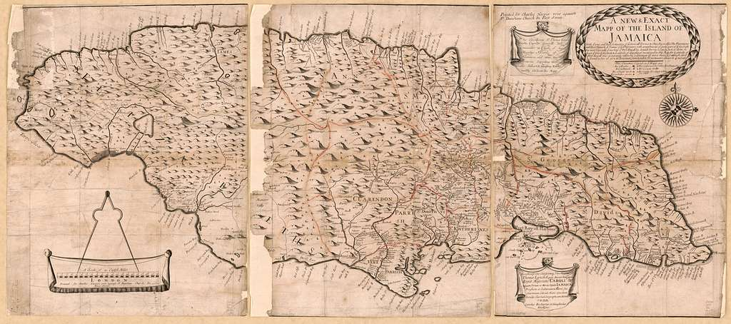A new & exact mapp of the island of Jamaica : with ye true and iust scituation of ye severall townes & churches ..