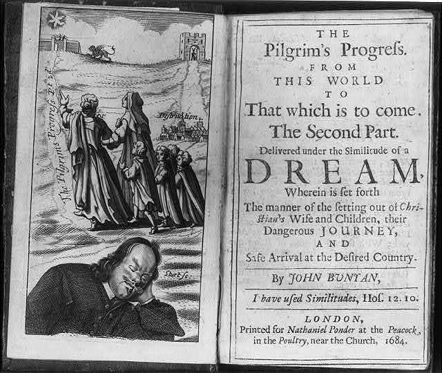 [Frontis. and title page from The Pilgrim's Progress...by John Bunyan; frontis. shows author dreaming and pilgrims progressing]