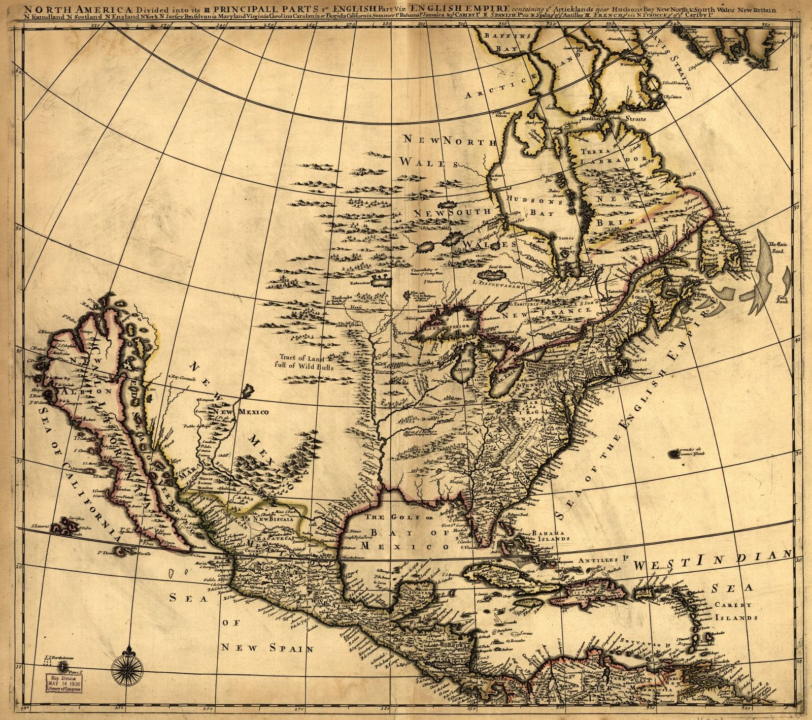 North America divided into its III principall [sic] parts.