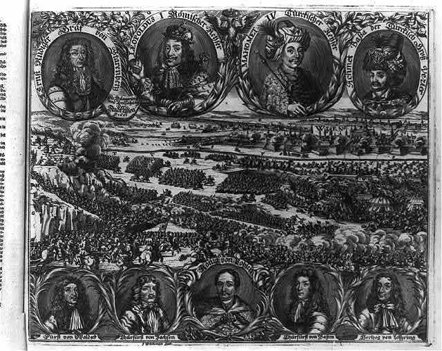 [Siege and relief of Vienna in 1683, with portraits of Ernst Rudiger von Starhemberg, Emperor Leopold I, Sultan Mehmed IV, Kara Mustafa, Count of Waldeck, Elector of Saxony, John III Sobieski, Elector of Bavaria, Charles V Duke of Lorraine]