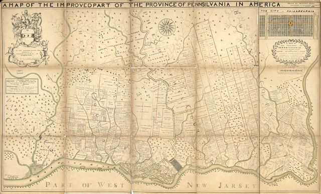 Fac-simile of Holmes-map of the province of Pennsylvania : with the names of the original purchasers from William Penn, begun in 1681.
