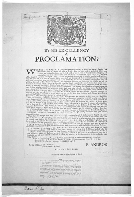 By his Excellency, a proclamation. Whereas His Majesty hath been graciously pleased by His royal letter, bearing date the sixteenth day of October last past, to signifie that he hath received undoubted advice that a great and sudden invasion fro
