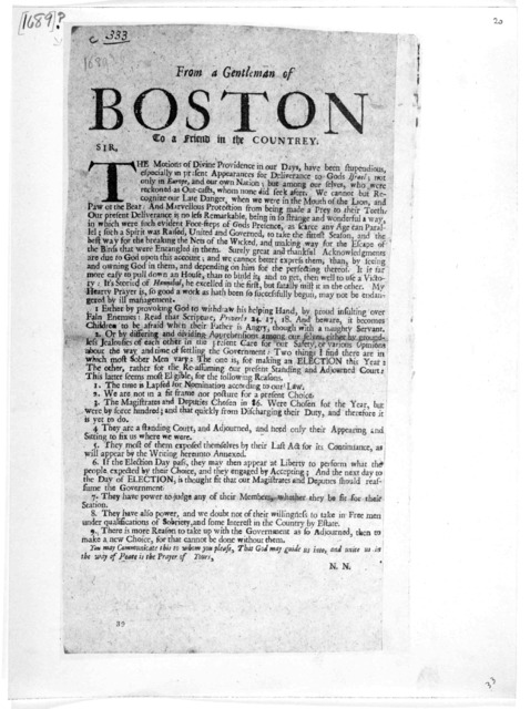 From a gentleman of Boston to a friend in the countrey. [Signed] N. N. [Boston: Printed by Samuel Green 1689].