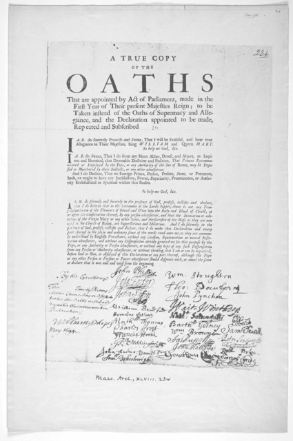 A true copy of the oaths that are appointed by act of Parliament, made in the first year of their present Majesties reign; to be taken instaed of the oaths of supemacy and allegiance and the declaration appointed to be made repeated and subscrib