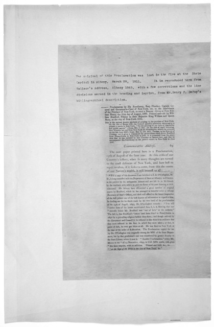 By His Excellency Benjamin Fletcher, Captain General and Governor-in-chief of their Majesties Province of New York, Province of Pennsilvania, County of New-Castle, and the territories and tracts of land depending thereon, in America, and vice-ad