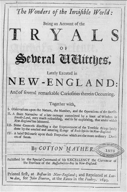 [Title page - no illus. of Triyals of...Witches... by Cotton Mather]