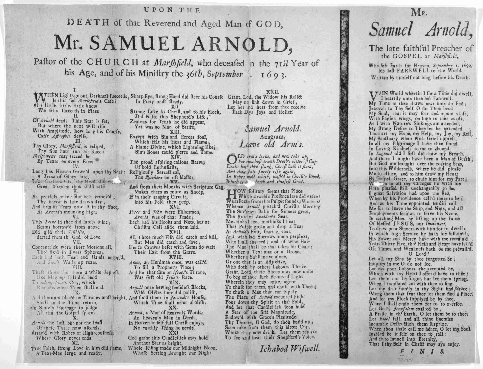Upon the death of that Reverend and aged man of God, Mr. Samuel Arnold, pastor of the church at Marshfield, who deceased in the 71st year of his age, and of his ministry the 36th September 1, 1693. [1693].