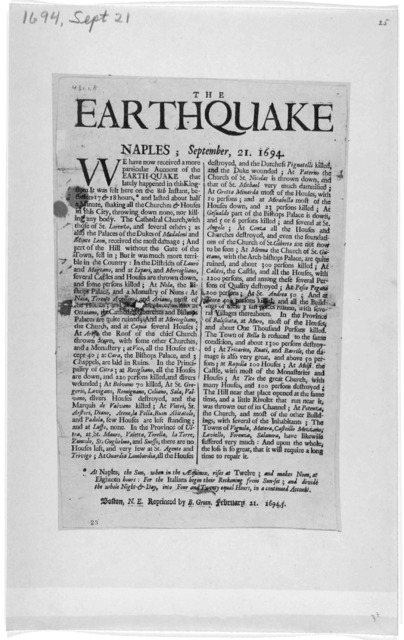 The earthquake Naples: September 21, 1694. Boston, N. E. Preprinted by B. Green, February 21 1694,5.