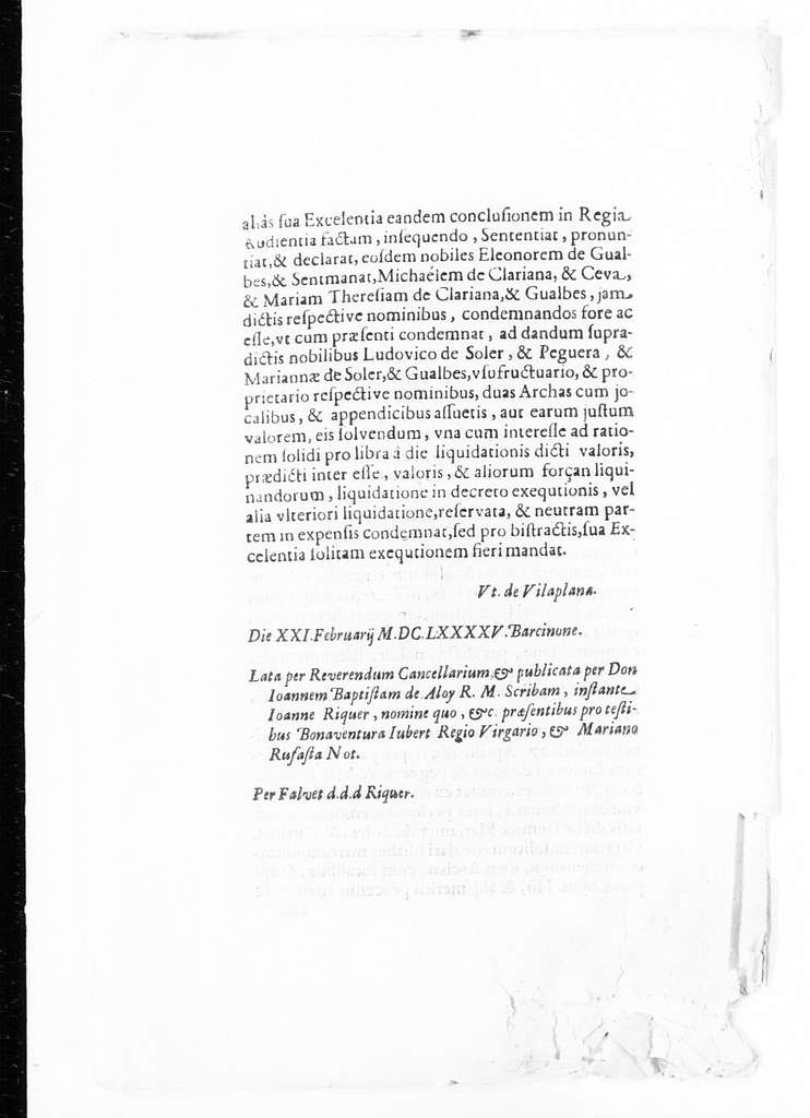 Royal judgment of February 21, 1695 for Ludovico de Soler y de Peguera and Mariana de Soler y de Gualbes issued by Antonio de Vilaplana in the case against Eleonora de Gualbes and the spouses Miguel de Clariana Ceva and María Teresa de Clariana y de Gualb