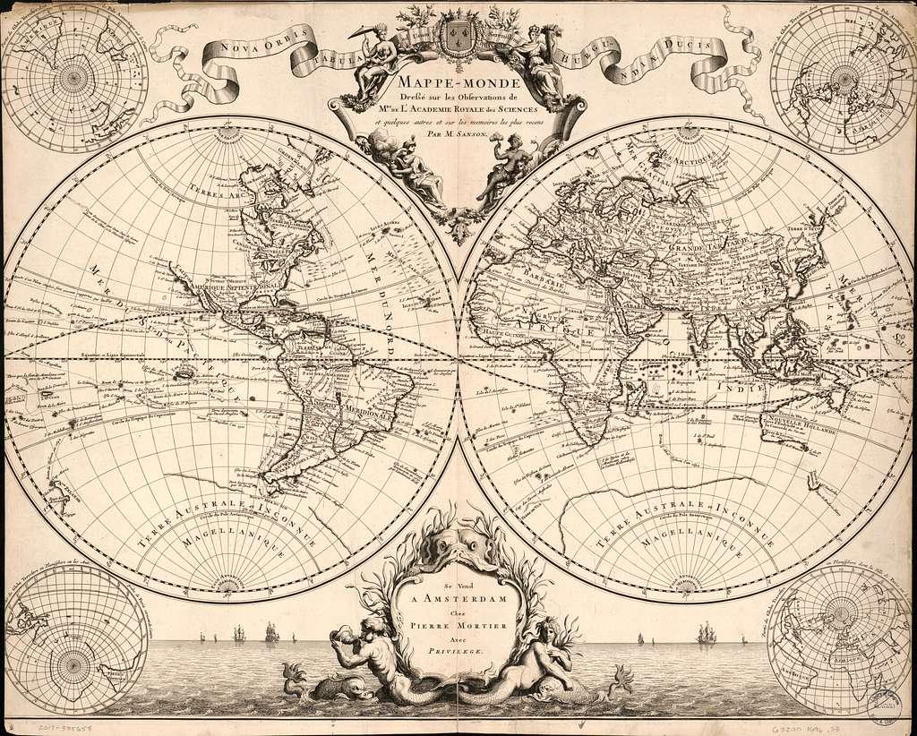Mappe-monde, dressé sur les observations de mrs. de l'Academie royale des sciences et quelques autres et sur les memoires les plus recens