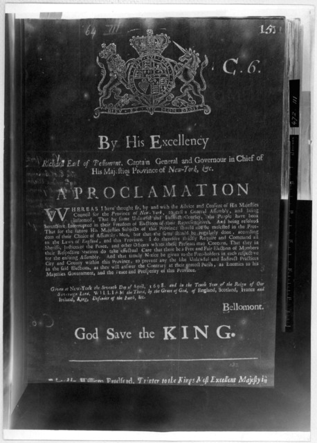 By His Excellency Richard Earl of Bellomont Captain General and Governor in Chief of His Majesties Province of New-York, &c. A proclamation. [Commanding sheriffs to take effectual care that there be a free and fair election for the ensuing assem