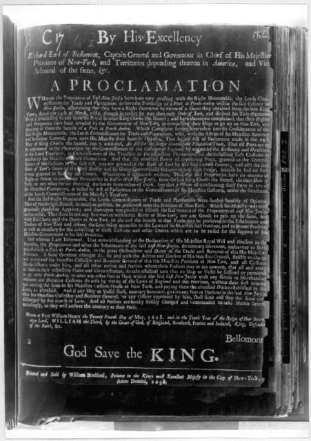 By His Excellency Richard Earl of Bellomont Captain General and Governour in chief of His Majesties Province of New-York ... A proclamation Whereas the proprietors of East-New-Jersey, have been very pressing with the Right Honourable, the Lords