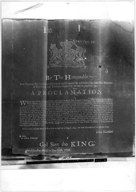 By the Honourable John Nanfan, Esq. Lieutenant Governour and commander in chief of His Majesties province of New York ... A proclamation [to seize James Gillam, English Smith and Humphrey Clay, pyrates.] Given at Fort William Henry in New York t
