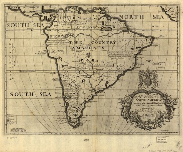 A new map of South America, shewing it's general divisions, chief cities & towns, rivers, mountains &c. /