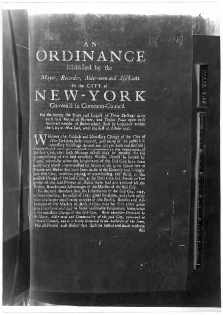 An ordinance established by the Mayor, recorder, alder-men and assistants of the City of New-York conven'd in Common council for the laying the duty and impost of three shillings upon each half barrel of flower, and twelve pence upon each hundre