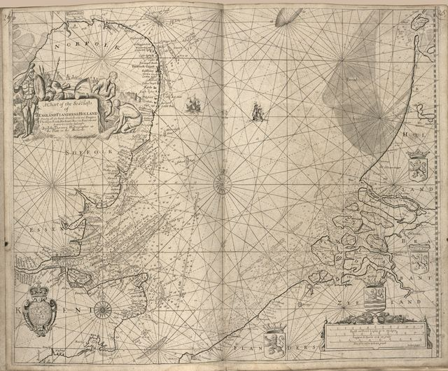 Atlas maritimus or, the sea-atlas : being a book of maratime (sic) charts describing the coasts, capes, headlands, sands, shoals, rocks and dangers, the bays, roads, harbours, rivers, and ports in most of the known parts of the world : with the true course and distances from one place to anot., gathered from the latest discoveries that hath been made, by divers[e], able and experienced navigators of our English nation, accommodated with an hidrographical (sic) description of the whole world &c. /