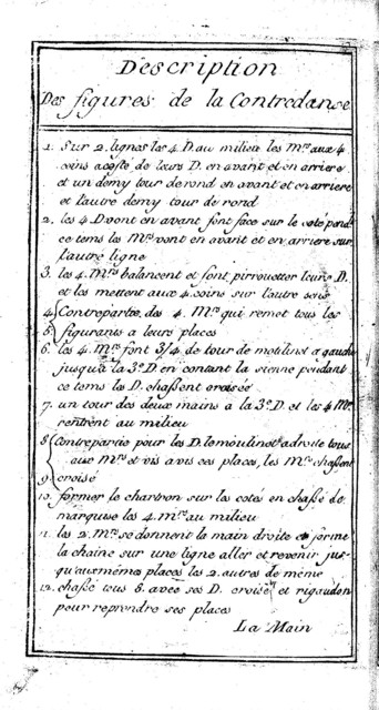 [Contredanses; description des figures, plan des figures]