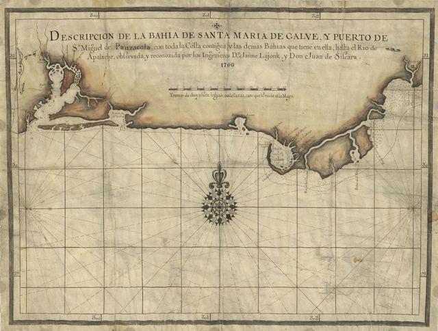Descripcion de la Bahia de Santa Maria de Galve, y Puerto de Sn. Miguel de Panzacola con toda la costa contigua y las demas bahias que tiene en ella, hasta el Rio de Apalache /