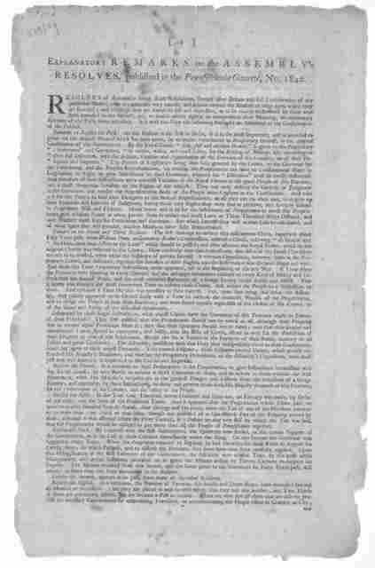 Explanatory remarks on the Assembly's Resolves, published in the Pennsylvania Gazette, No. 1840.