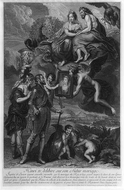 Henri IV. délibére sur son futur mariage / Rubens, pinxit ; I.M. Nattier, delineavit ; I. Audran, scupsit.