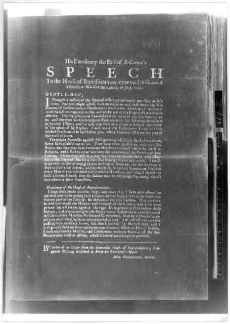 His Excellency the Earl of Bellomont's speech to the House of representatives convened in general assembly at New-York the 29th day of July 1700. [New York: Printed by William Bradford, 1700] [Negative Photostat].