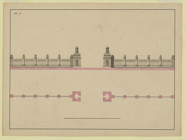 [Hunting lodge with pavilions. Gateway, piers, and fencing. Plan and elevation]