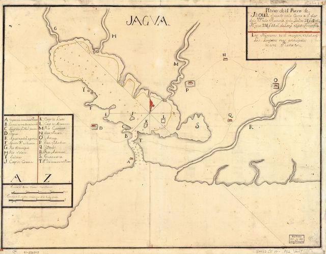 Plano de el Puerto de Jagua situado en la costa de el sur de la ya. de la Havana en la latd. de 21 gs. 51 ms. N. y en 294 gs. 54 ms. de longd. segun Tenerife.