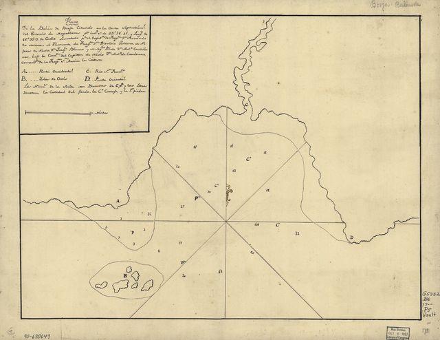 Plano de la Bahía de Borja cituado en la costa septentrionl. del Estrecho de Magallanes pr. latd. S. de 53⁰26ʹ45ʹ [sic] y longd. de 66⁰39ʹ O. de Cádiz /