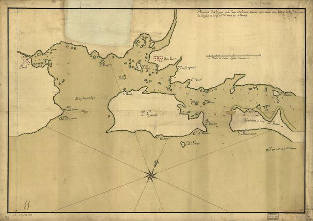 Plano de la Isla Grande en la costa del Brasil situada su mediania en la latitud de 23 gs. 11 ms. y en la longitud de 332 gs. y 57 ms., meridiano de Tenerife.