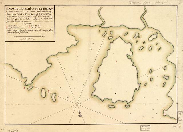 Plano de las Bahías de la Baronesa y Condesa situadas en la costa oriental del Estrecho de Magallanes en la latitud de 53⁰24ʹS y longd. de 67⁰10ʹ del O. de Cádiz /