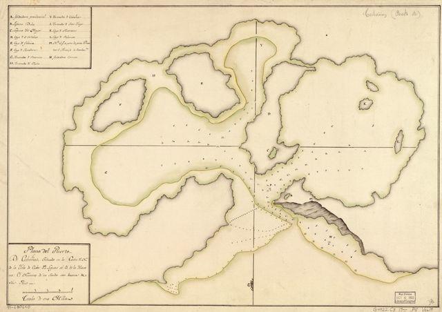 Plano del Puerto de Cabañas, situado en la costa dl. N. de la ysla de Cuba, 12 leguas al O. de la Havana.
