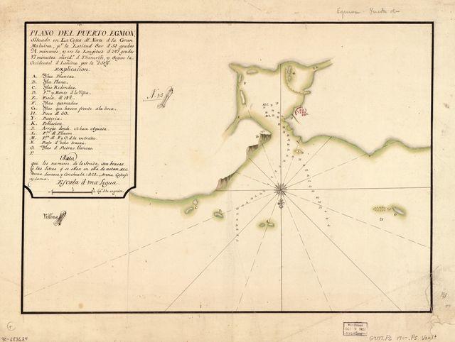 Plano del Puerto Egmon situado en la costa dl. norte d. la Gran Malvina pr. la latitud sur d. 51 grados 24 minutos y en la longitud d. 317 grados 17 minutos, merido. d. Thenerife y segun la occidental d. Londres por la d. 59 gs. /