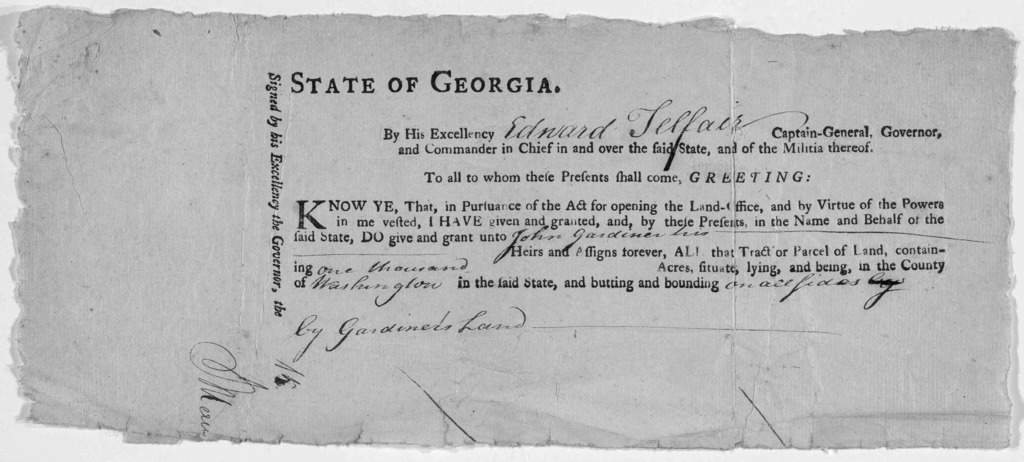 State of Georgia. By His Excellency Captain-General, Governor, and commander in chief in and over the said State, and of the militia thereof. To all to whom these presents shall come, Greeting: Know ye, that in pursuance of the act for opening t