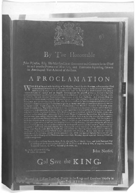 By the Honourable John Nanfan, Esq. His Majesties Lieut. Governour and Commander in Chief in and over the Province of New York ... A proclamation [Offering to stay prosecution of Rip Van Dam, if he will appear before the royal council and acknow
